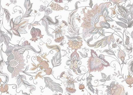Seamless pattern with stylized ornamental flowers in retro, vintage style. Jacobin embroidery. Colored vector illustration. In vintage grey and beige colors. Isolated on white background.