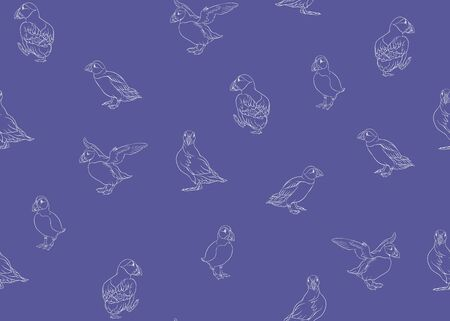 Arctic Puffins seamless pattern. Outline design. Vector illustration.