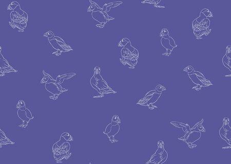 Modèle sans couture de macareux arctiques. Conception de contour. Illustration vectorielle. Vecteurs