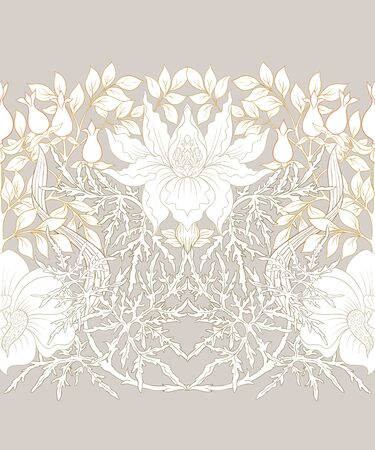 Floral Seamless pattern, background with In art nouveau style, vintage, old, retro style. Colored vector illustration..  イラスト・ベクター素材