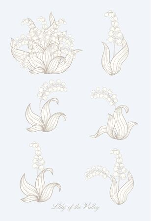 Lily of the valley, may-lily Element for design. In art nouveau style, vintage, old, retro style. In botanical style In vintage blue and beige colors..