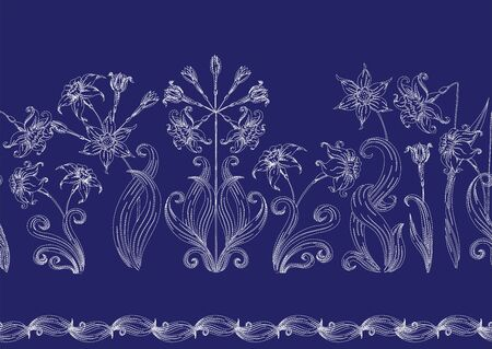 Narcissus. Imitation of traditional Japanese embroidery Sashiko. Spring flowers. Seamless pattern, background. Vector illustration. On navy blue background.. 写真素材 - 132748430