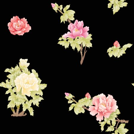 Peony tree branch with flowers in the style of Chinese painting on silk Seamless pattern, background. Colored vector illustration. Isolated on black background..