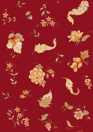 Fantasy flowers, traditional Jacobean embroidery style. Seamless pattern, background. Embroidery imitation. Vector illustration in soft orange and green colors on burgundy red background. 向量圖像