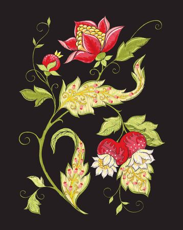Elements for design. Fantasy flowers, traditional Jacobean embroidery style. Embroidery imitation. Vector illustration in red and green colors isolated on black background.. 向量圖像