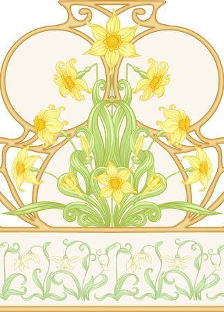 Spring flowers seamless pattern, background. Colored vector illustration. In art nouveau style, vintage, old, retro style. Isolated on white background.. Stock Illustratie