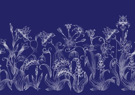 Imitation of traditional Japanese embroidery Sashiko. Spring flowers. Seamless pattern, background. Vector illustration. On navy blue background. 写真素材 - 132748550