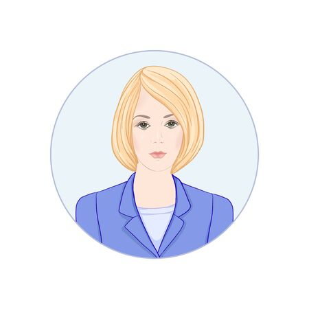 Beautiful woman 30-39 or 40-49, hand drawn portrait, office style hairstyles and clothes, vector line art illustration in a circle. Stock Vector - 132868087