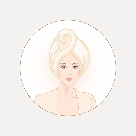 Beautiful woman 30-39 or 40-49 woman with a towel on her head. Hand drawn portrait, vector line art illustration in a circle. Stock Vector - 132868091