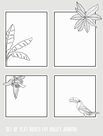 Set of text boxes for bullet journal or notes with tropical plans, flowers and birds. Stickers, elements for design. Outline hand drawing vector illustration. Stock Vector - 132869238