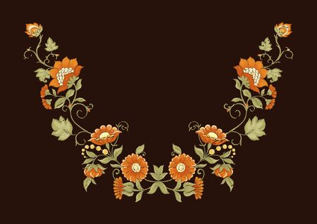 Tradition mughal motif, fantasy flowers in retro, vintage style. Element for design. Embroidery imitation Vector illustration. Isolated on black background