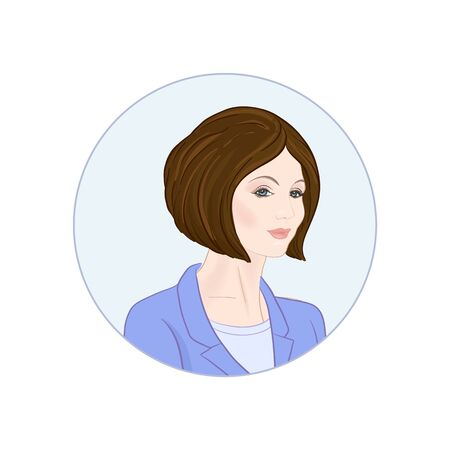 Beautiful woman 30-39 or 40-49, hand drawn portrait, office style hairstyles and clothes, vector line art illustration in a circle.