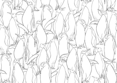 Emperor penguins seamless pattern. Outline design. Vector illustration.
