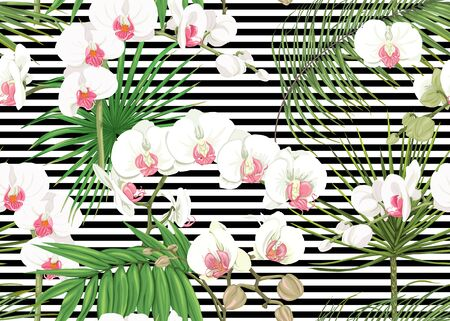 Seamless pattern, background with tropical plants, flowers. Colored vector illustration. On black-and-white stripes background