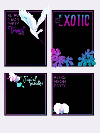 Set of text boxes for bullet journal or notes with tropical plans, flowers and birds. Stickers, elements for design. In neon, fluorescent colors. Vector illustration..