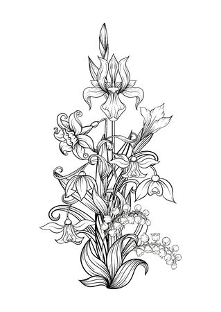 A bouquet of spring flowers. Element for design. Outline hand drawing vector illustration. In art nouveau style, vintage, old, retro style. Isolated on white background..
