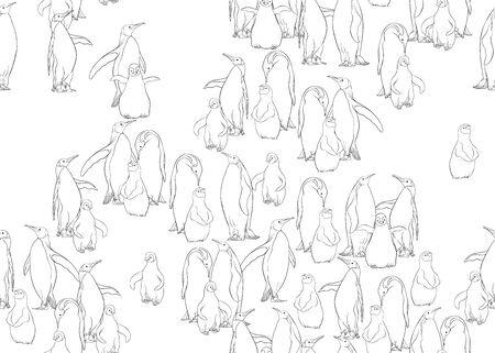 Modèle sans couture de manchots empereurs. Conception de contour. Illustration vectorielle.