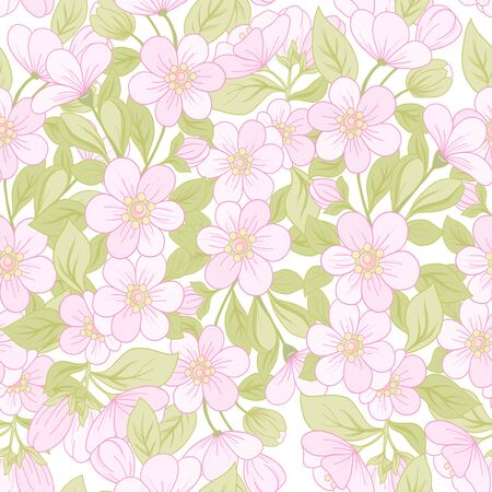Seamless pattern, background with pink cherry blossoms, apple trees, sakura. Soft spring floral background. Colored vector illustration.