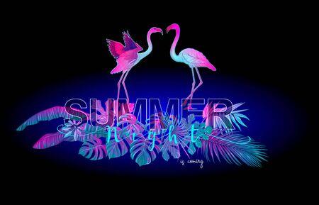 Composition d'été. Plantes exotiques et feuilles de palmier avec flamant rose en néon, couleurs fluorescentes. Illustration vectorielle..