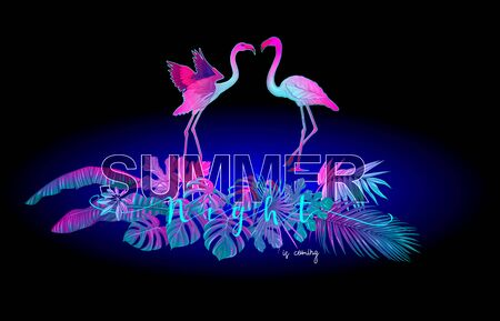 Summer composition. Exotic plants and palm leaves with flamingo in neon, fluorescent colors. Vector illustration..