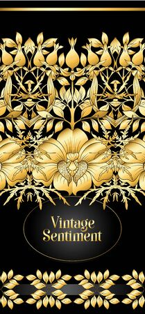 Floral pattern, background In art nouveau style, vintage, old, retro style. In gold and black. Good for the cover of a notebook, tablet, phone, product label. In gold and black.Vector illustration in   イラスト・ベクター素材