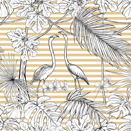 Seamless pattern, background. with tropical plants and flowers with white orchid and tropical birds. Graphic drawing, engraving style. vector illustration. Black and white on beige and white stripes.
