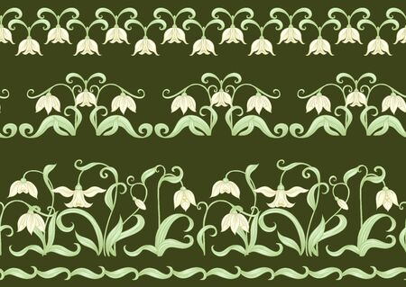 Galanthus, snowdrop, nivalis. Seamless pattern, background. Colored vector illustration in art nouveau style, vintage old retro style on army green background
