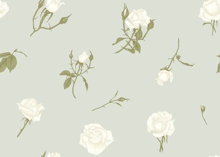 Roses and spring flowers seamless pattern. Graphic drawing, engraving style. Vector illustration. Illusztráció