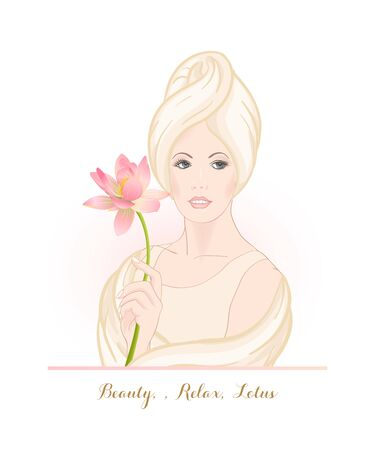 Beautiful woman 30-39 or 40-49 woman with a towel on her head and lotus flower in hand. Hand drawn portrait, vector line art illustration. Stock Vector - 132869565
