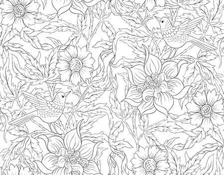 Floral Seamless pattern, background with bird In art nouveau style, vintage, old, retro style. Outline hand drawing vector illustration...