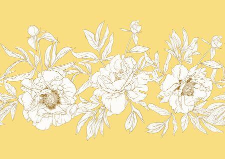 Flor de peonía. Patrón sin costuras, fondo. Gráficos en blanco y negro. Ilustración de vector. En estilo botánico En color amarillo suave suave.