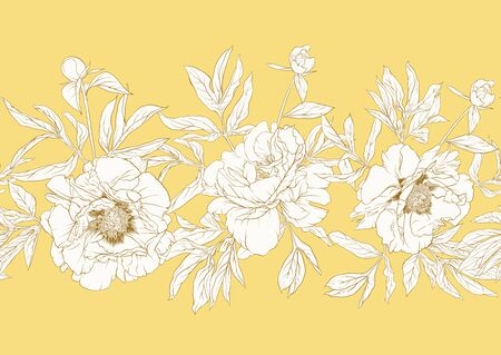 Peony flower. Seamless pattern, background. Black and white graphics. Vector illustration. In botanical style In soft mellow yellow color.. Stock fotó - 132869687