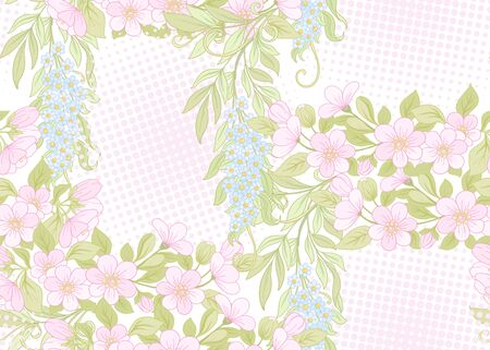 Seamless pattern, background with pink cherry blossoms, apple trees, sakura and acacia. Soft spring floral background. Colored vector illustration. 일러스트