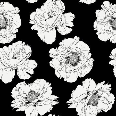 Peony flower. Seamless pattern, background. Black and white graphics. Vector illustration. In botanical style Ilustração