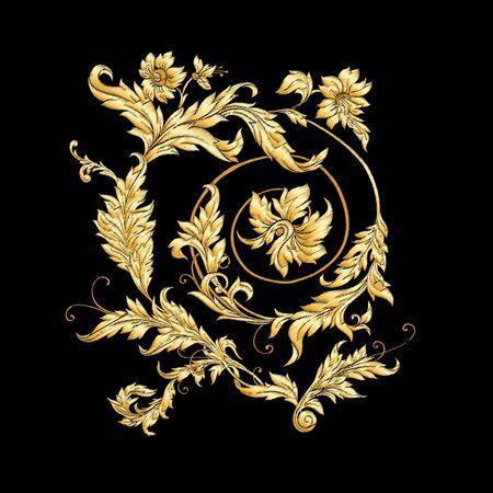 Elements In baroque, rococo, victorian renaissance style. Trendy floral vintage pattern Vector illustration. Vektorové ilustrace