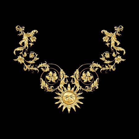 Elements In baroque, rococo, victorian renaissance style. Trendy floral vintage pattern Vector illustration. Illustration