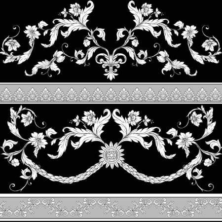 Seamless pattern, background In baroque, rococo, victorian, renaissance style. Trendy floral vintage pattern. Colored vector illustration