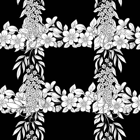 Seamless pattern, background with pink cherry blossoms, apple trees, sakura and acacia. Black and white graphics. Vector illustration.