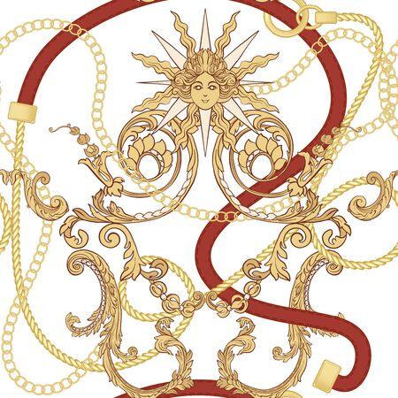 Patrón Baroco y cadenas de oro y cinturones de patrones sin fisuras para el diseño de telas. Ilustración de vector de color. Aislado sobre fondo blanco. Ilustración de vector