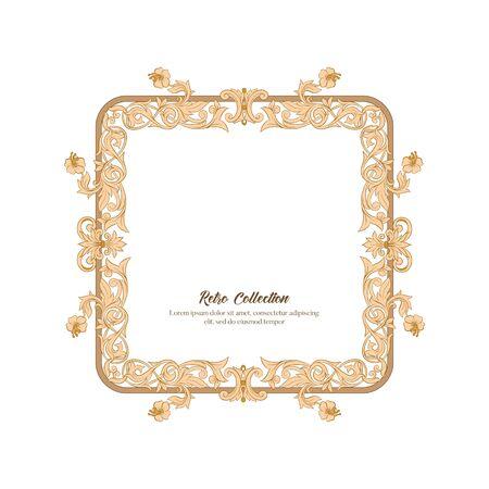 Border, frame label In baroque, rococo, victorian renaissance style. Trendy floral vintage pattern. Vector illustration