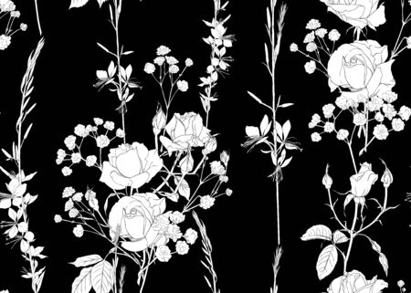 Roses and spring flowers seamless pattern. Black and white graphics. Vector illustration. Vector illustration.