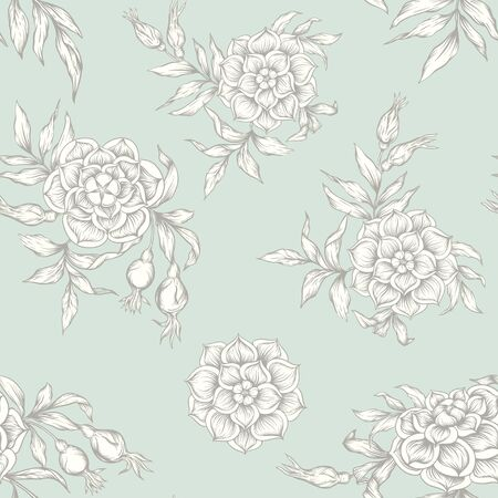 Roses Seamless pattern, background. Graphic drawing, engraving style. Vector illustration. In art nouveau style, vintage, old retro style