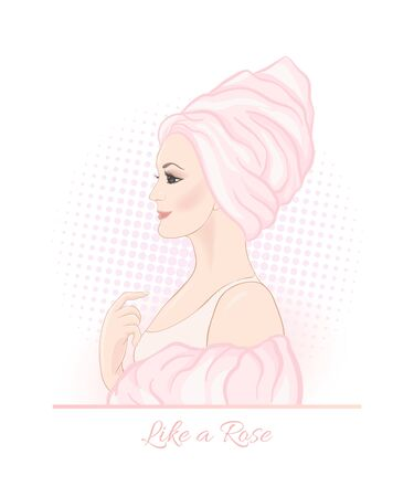 Beautiful woman 30-39 or 40-49 woman with a towel on her head. Hand drawn portrait, vector line art illustration in pink colors. Stockfoto - 132870284
