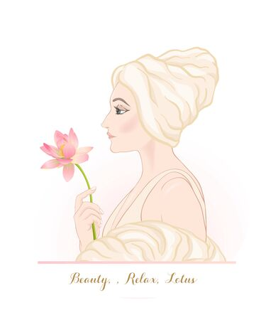 Beautiful woman 30-39 or 40-49 woman with a towel on her head and lotus flower in hand. Hand drawn portrait, vector line art illustration.