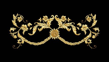 Elementy W stylu barokowym, rokoko, renesansu wiktoriańskiego. Modny kwiatowy wzór vintage Ilustracja wektorowa.