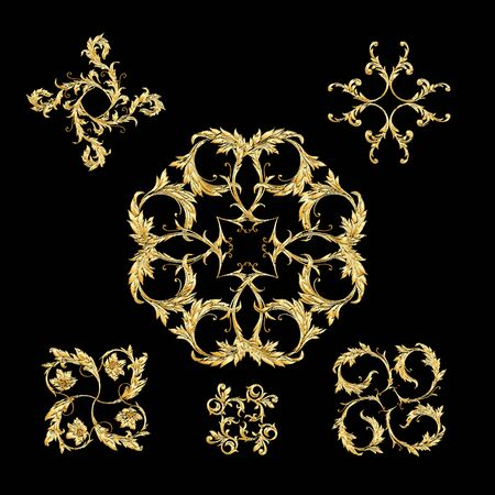Elements In baroque, rococo, victorian renaissance style. Trendy floral vintage pattern Vector illustration.  イラスト・ベクター素材