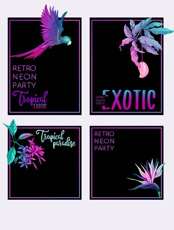 Set of text boxes for bullet journal or notes with tropical plans, flowers and birds. Stickers, elements for design. In neon, fluorescent colors. Vector illustration.. Stock Vector - 132840455