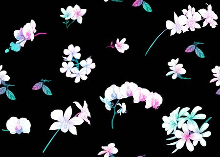 Seamless pattern, background with tropical plants, flowers. Colored vector illustration in neon, fluorescent colors. Isolated on black background...