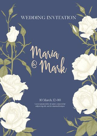 Wedding invitation with white roses and spring flowers. Graphic drawing, engraving style. Vector illustration. In vintage soft color on blue background. Illusztráció