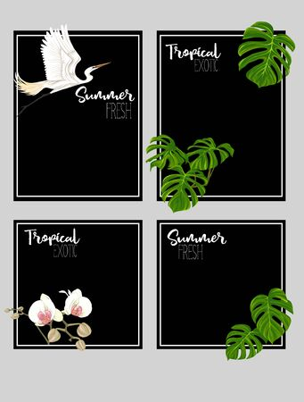 Set of text boxes for bullet journal or notes with tropical plans, flowers and birds. Stickers, elements for design on black background. Vector illustration.. Stock Vector - 133011346